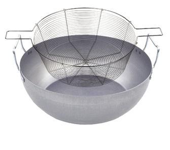 Bassine à friture 50 cm en tôle avec panier en fil étamé