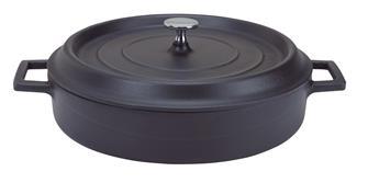 Cocotte en fonte ronde basse 28 cm noir mat