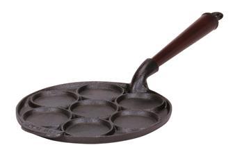 Poêle 7 blinis 23 cm en fonte induction, manche en bois