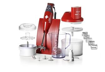 Batteur mixeur plongeur Bamix 200 W+ mini hachoir rouge