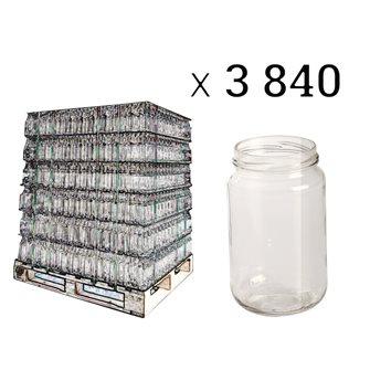 Pot à miel en verre 500 g. avec protège étiquette par palette de 3840