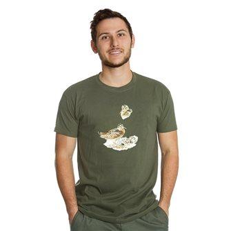 Tee shirt homme Bartavel Nature kaki sérigraphie bécasse et ses petits dans son nid XXL