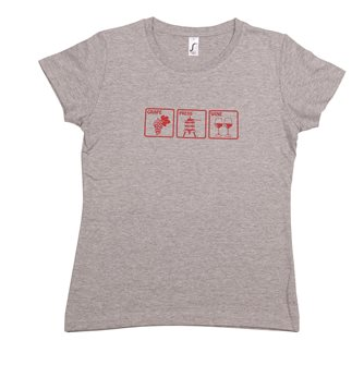 T-shirt femme XXL Grape Press Wine Tom Press gris chiné sérigraphie bordeaux