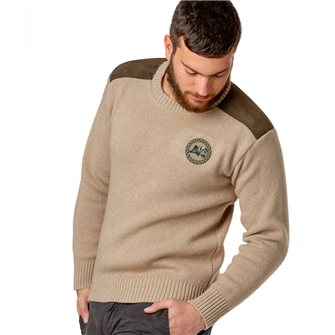 Pull col rond chasse homme jersey 30% laine beige L Bartavel P60 patch sanglier