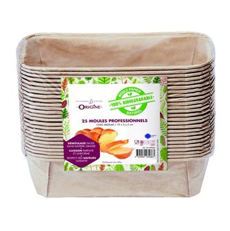 Lot de 25 moules à cake 19 cm en papier 100% biodegradable Naturel
