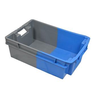 Caisse emboitable 70% et empilable 32 litres pleine bicolore bleue et grise