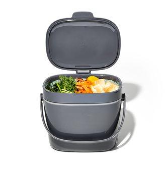 Bac à compost de cuisine gris 6,6 litres avec couvercle hygiénique et anti-odeurs